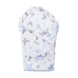 Swaddling blanket with frills and ribbon - Butterflies Blue