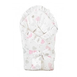 Swaddling blanket with frills and ribbon - Hearts Pink