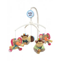 Baby Mix Plyšový kolotoč nad postýlku - Medvídci s čepičkami