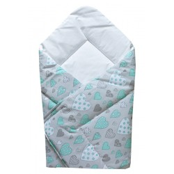 Baby Swaddling Blanket 80x80 cm - Heart Grey